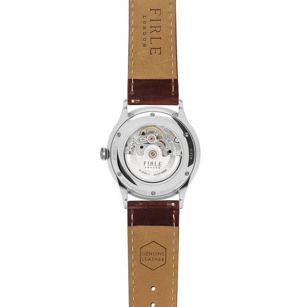 Sennen Automatic in Green, Silver & Cognac - Firle Watches