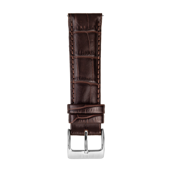 BROWN FAUX CROCODILE - PIN BUCKLE