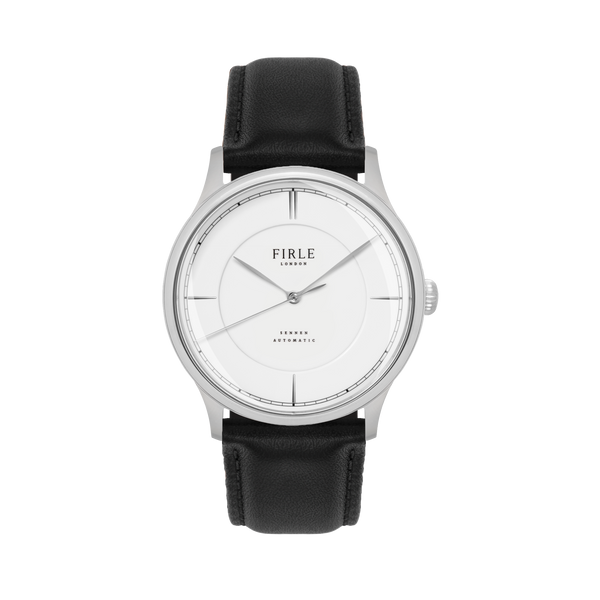 Sennen Automatic in White & Silver - Engraved 001 - Firle Watches