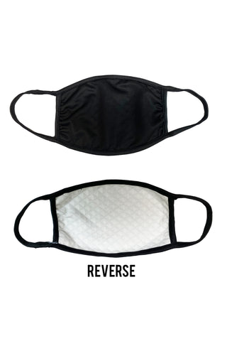 Solid Black Quilted Face Covering - IN STOCK