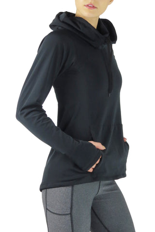 Luxe Funnel Neck Long Sleeve Top/Black