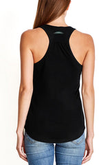 """Flexible Strong Resilient"" Gathered Back Triblend Tank/Black"