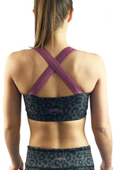 CL-17 Leopard Criss Cross Sports Bra/Charcoal & Black-FINAL SALE