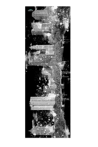 """Columbus City Skyline"" Washable Yoga Mat/Black & White"