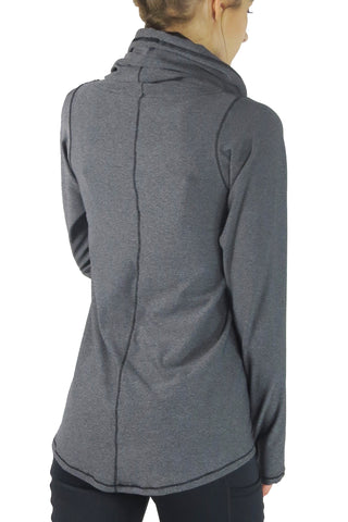 Lightweight Funnel Neck Long Sleeve Top/Charcoal