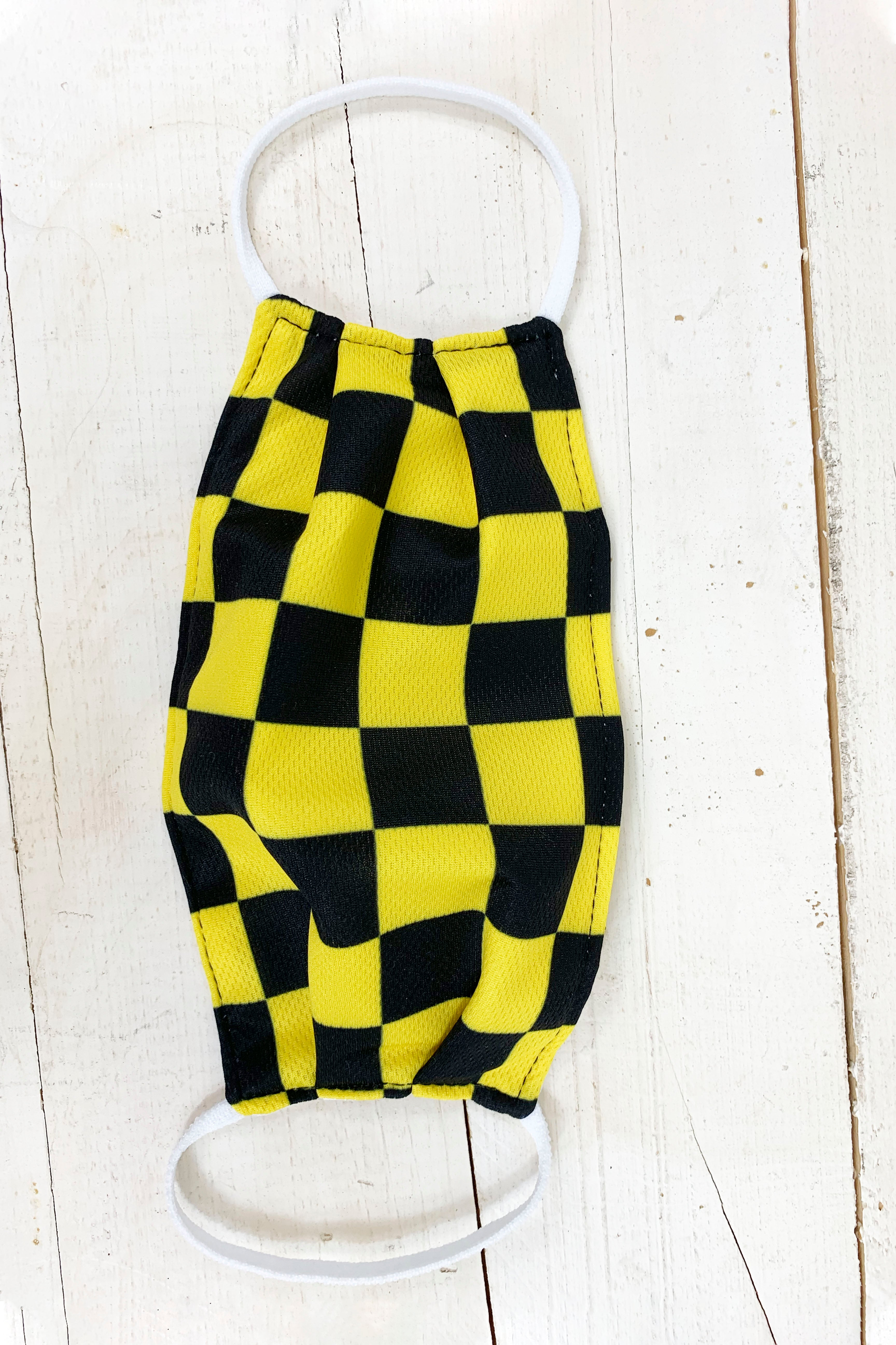 "Checkered Yellow/ Black ""Carrie"" Face Covering"