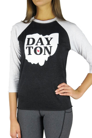 The Dayton Love Baseball Tee/Black & White