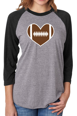 Football Love Baseball Tee/Grey & Black