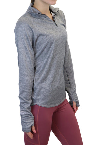 "4033 - ""Fold Over Cuff"" 1/4 Zip Pullover/ Heather Grey"