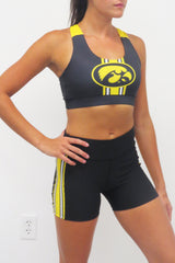 The Game Day Iowa Hawkeye Criss Cross Bra/Black