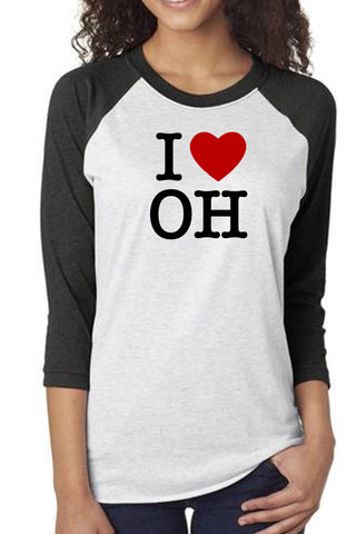 "3018 - ""I Love Ohio"" Baseball Tee/Heather White & Black"