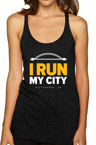 "Pittsburgh ""I Run My City"" Racerback Tank/Black- FINAL SALE"