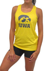 The Game Day Hawkeye Distressed Logo Racerback Tank/Gold