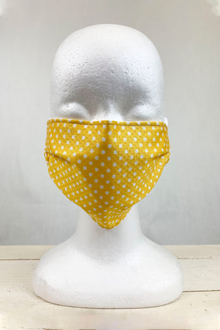 "Mustard Polka Dot  ""Carrie"" Face Covering"