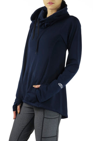 Luxe Funnelneck Long Sleeve/Navy