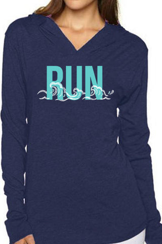Beach Wave Run Unisex Hoodie/Heather Navy