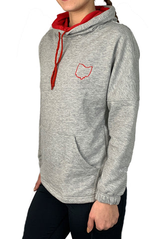3035 - Ohio Love Snorkel Neck Hoodie/Heather Grey