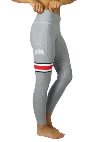 OSU-1011 - The Ohio State University Cell Phone Pocket Legging/Heather Grey