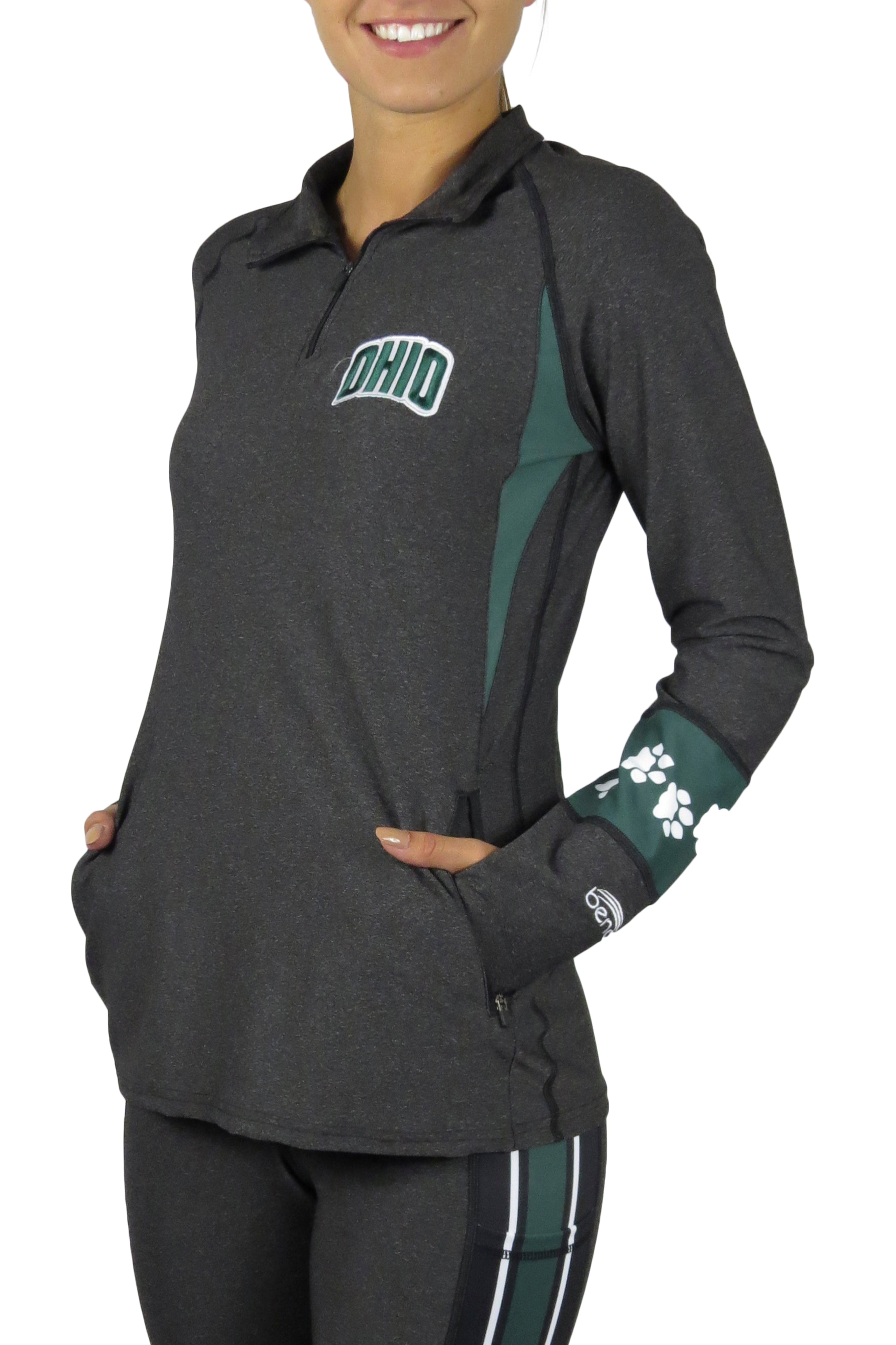 OHU-5026- The Ohio University 1/4 Zip Gameday Pullover/Onyx