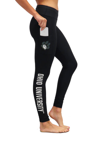 "The Ohio University ""Victory"" Cell Phone Pocket Legging/Black"