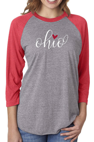 3017 - Ohio Love Baseball Tee/Heather Grey & Red