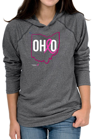 4037HD - Komen Ohio Pink Ribbon Unisex Hoodie/Heather Black