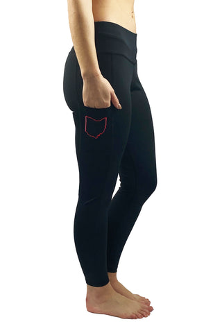 Ohio Love State of Ohio Cell Phone Pocket Legging/Black