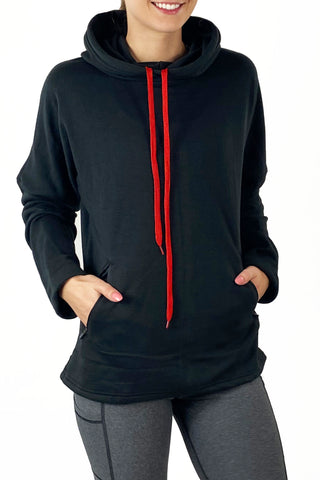 3000B- Buffalo Plaid Arm Patch Snorkel Neck Hoodie/ Black