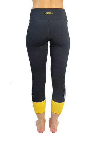 5017C- Black and Gold Champion Cell Phone Pocket 3/4 Length Legging-FINAL SALE