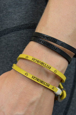 """Pittsburgh"" Leather Wrap Bracelet"