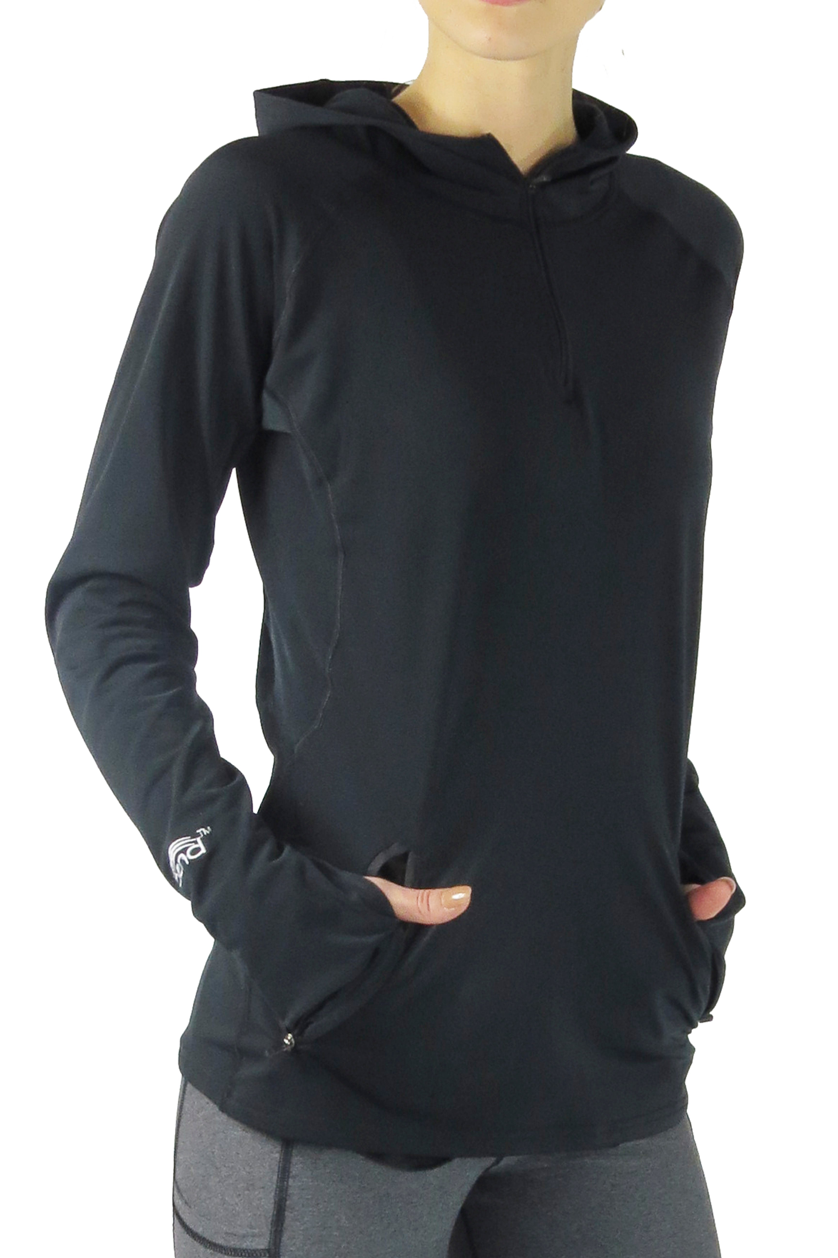 Performance Pony Tail Hoodie/Black