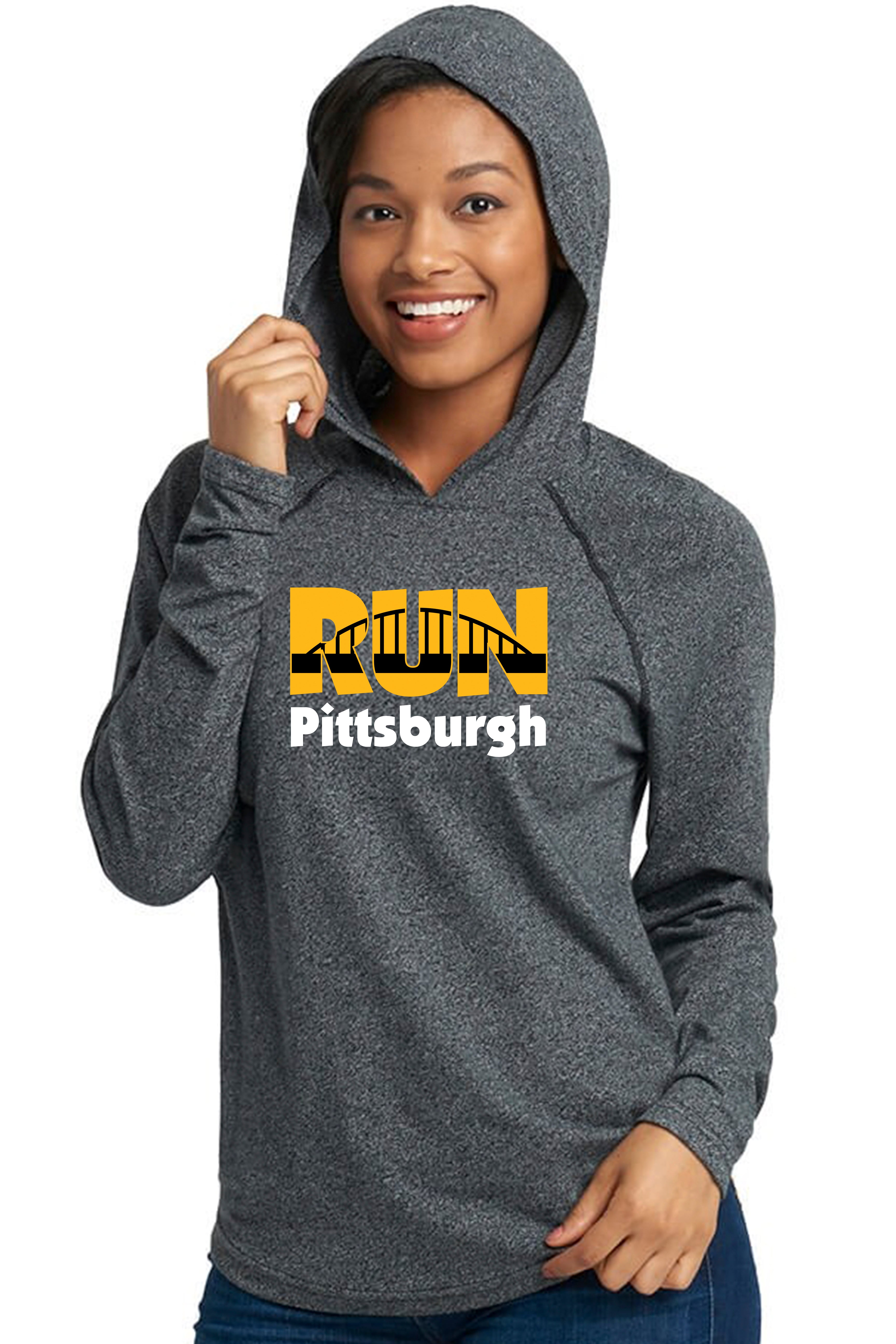 """Run Pittsburgh"" Unisex Hoodie/Heather Black"