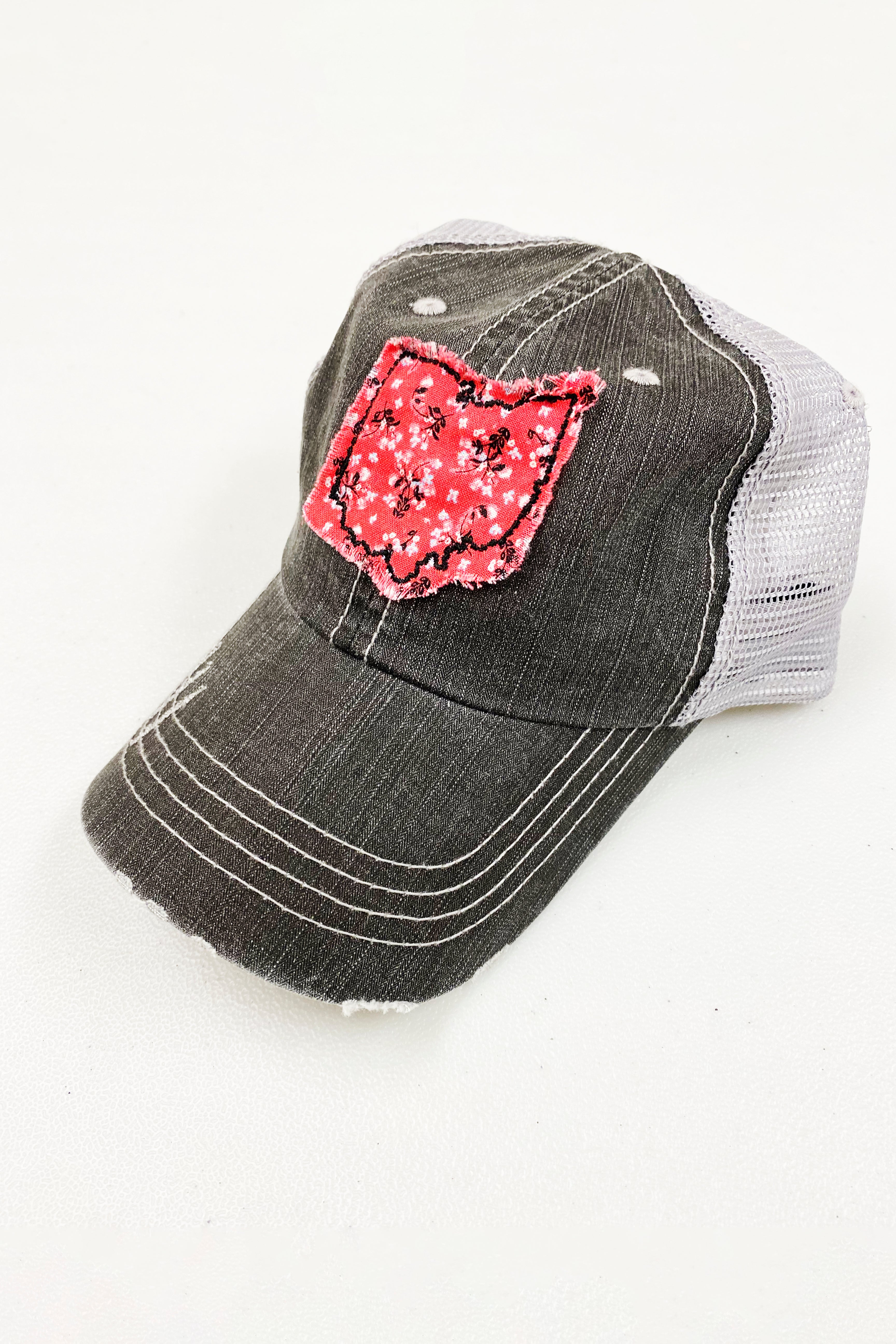Ohio Distressed Trucker Hat/Pink Floral
