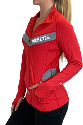 "Ohio State ""Block O"" Full Zip Panel Pullover/Red"