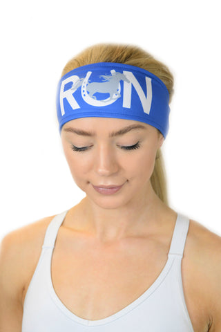 "REVERSIBLE ""Run"" Horse Headband/Royal"