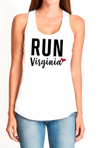 "6023W- ""Run Virginia"" Racerback Tank/White- FINAL SALE"