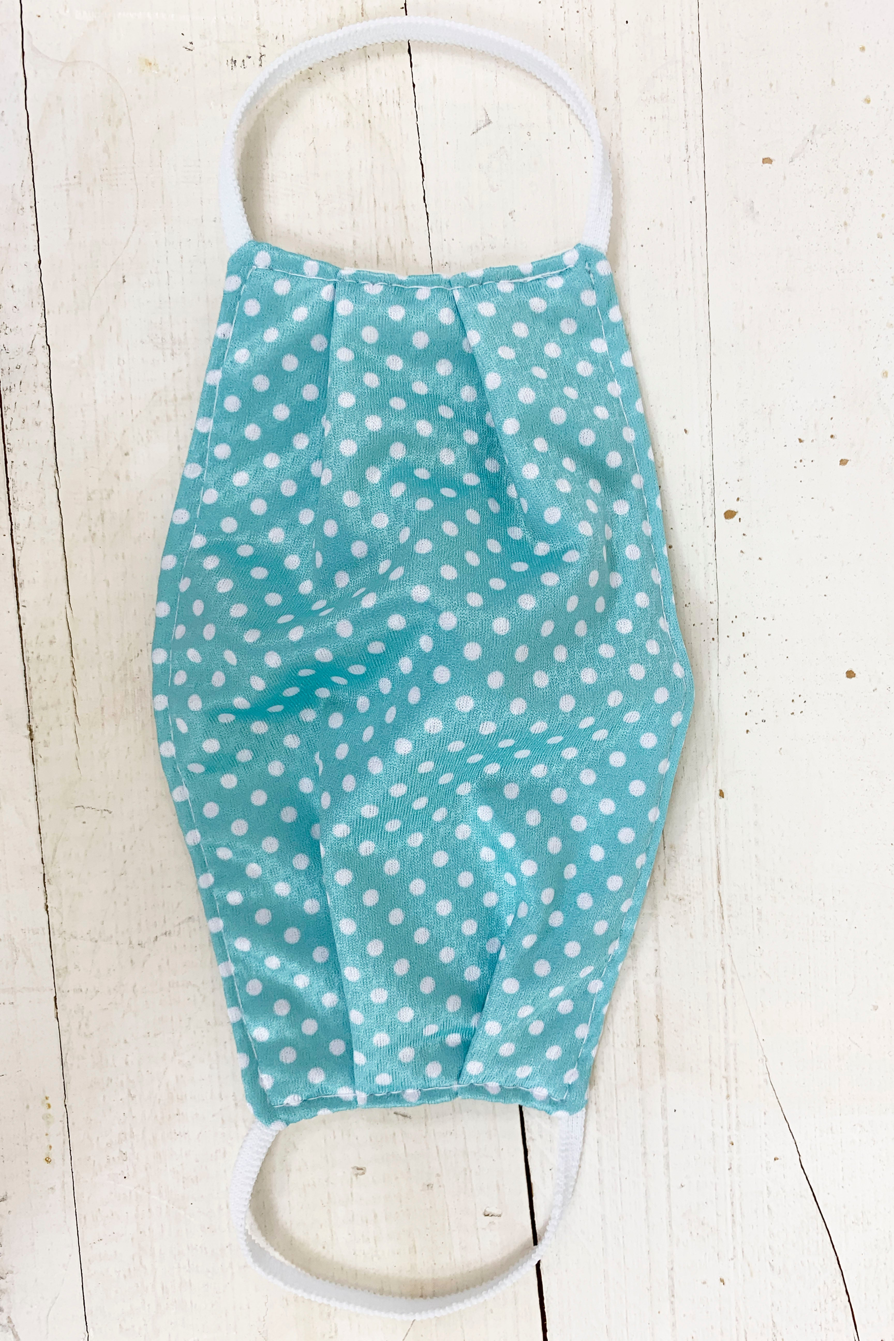 "Teal Polka Dot  ""Carrie"" Face Covering"