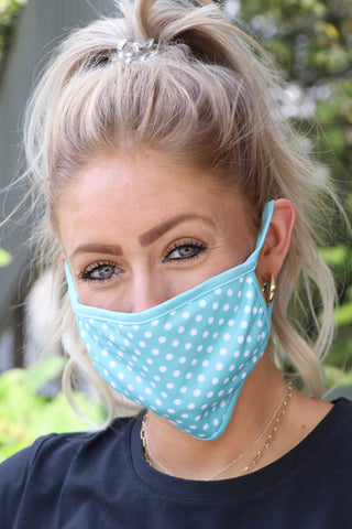 Teal & White Polka Dot Quilted Face Covering