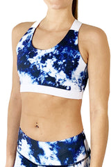 Tie Dye Criss Cross Sports Bra/Blue & White
