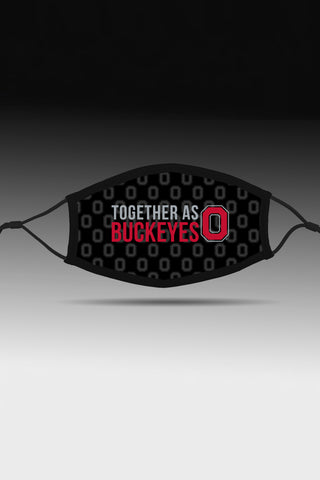 """Together As Buckeyes"" Adjustable Fit Face Covering/Black"