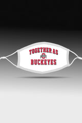 """Together As Buckeyes"" Adjustable Fit Face Covering/White"