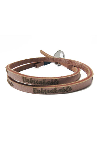 """Unbreakable"" Leather Wrap Bracelet"