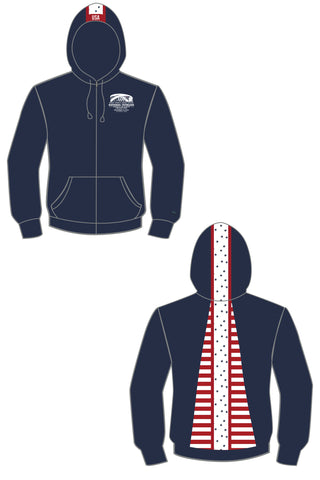 CL-3 Veteran's Memorial Stars & Stripes Pony Tail Performance Hoodie/Navy- Final Sale