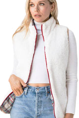 Reversible Plaid Sherpa Vest/ Ivory