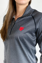 3028- Ohio Love Stripe 1/4 Zip Pullover/Black