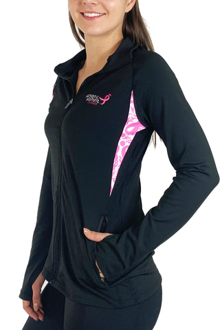 4016FZ - Komen Pink Ribbon Full Zip Pullover/Black