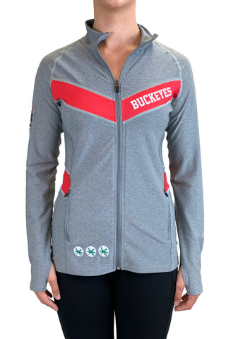 "Ohio State ""Block O"" Full Zip Panel Pullover/Heather Grey"