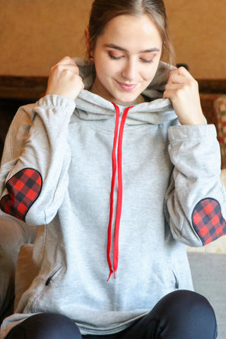 3000G- Buffalo Plaid Arm Patch Snorkel Neck Hoodie/ Heather Grey