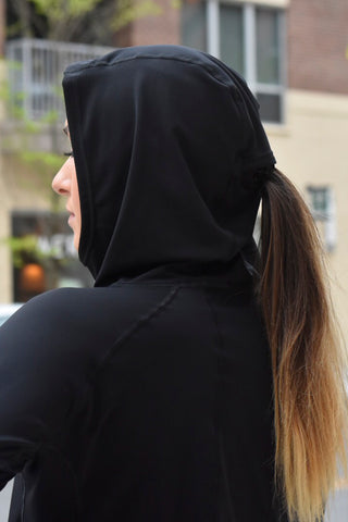 4021 - Performance Pony Tail Hoodie/Black