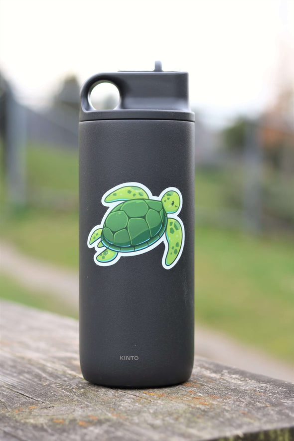 green sea turtle sticker on water bottle